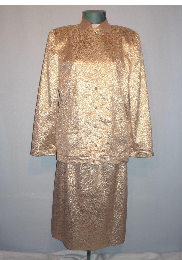 Vintage 1980s  Adele Simpson Glittering Gold 3pc Evening Suit Ensemble