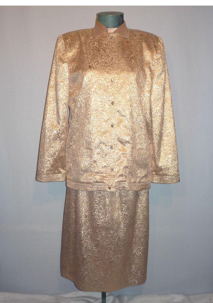 Vintage 1980s  Adele Simpson Glittering Gold Evening Suit Ensemble