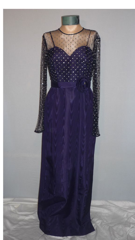 Vintage 1970s Rose Taft for Couture Fashions  Navy Blue Moire Taffeta Evening Gown With Rhinestones