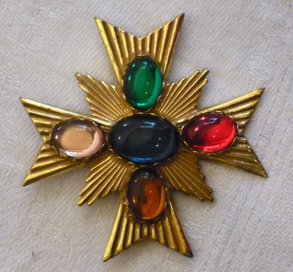 Miriam Haskell 1980s Maltese Cross Brooch/Pin With Multi-Color Glass Cabachons