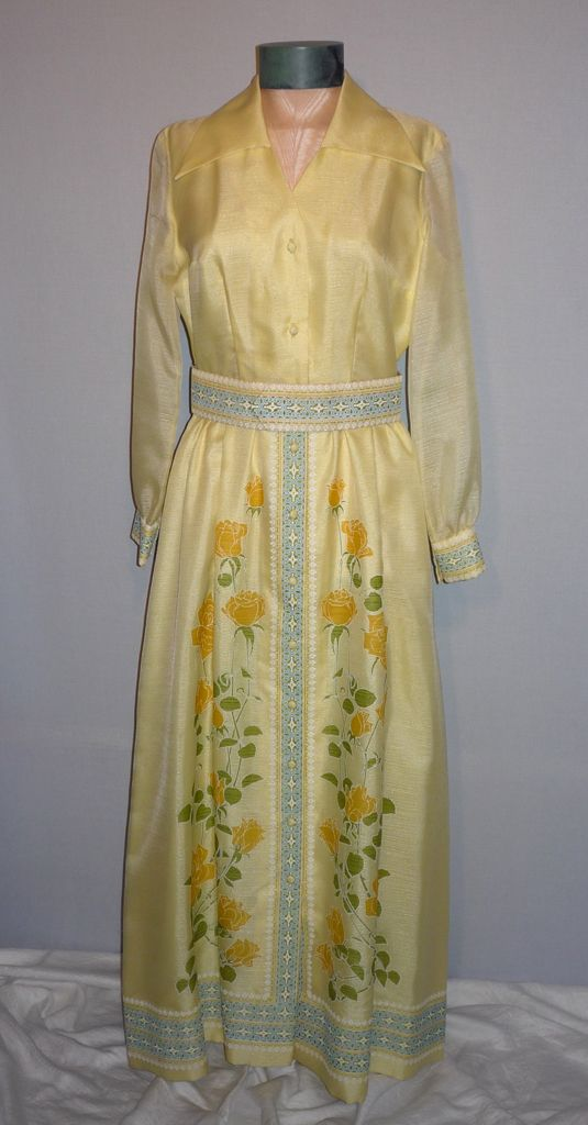 Vintage 1970s Shaheen Yellow Floral Evening Dress