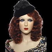 Vintage Late 1950s-Early 1960s  Saks Fifth Avenue Millinery Salon Velvet Cocktail Hat