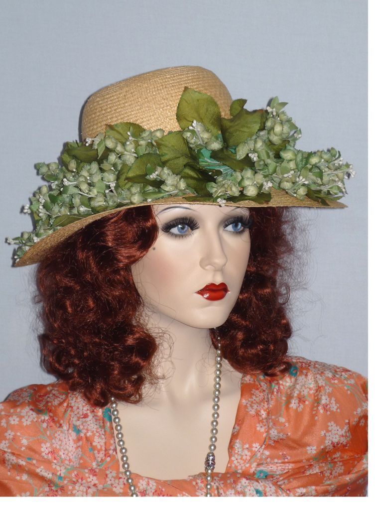 Vintage 1960s Christian Dior Floral Wide Brim Straw Hat Sold at Robinsons California