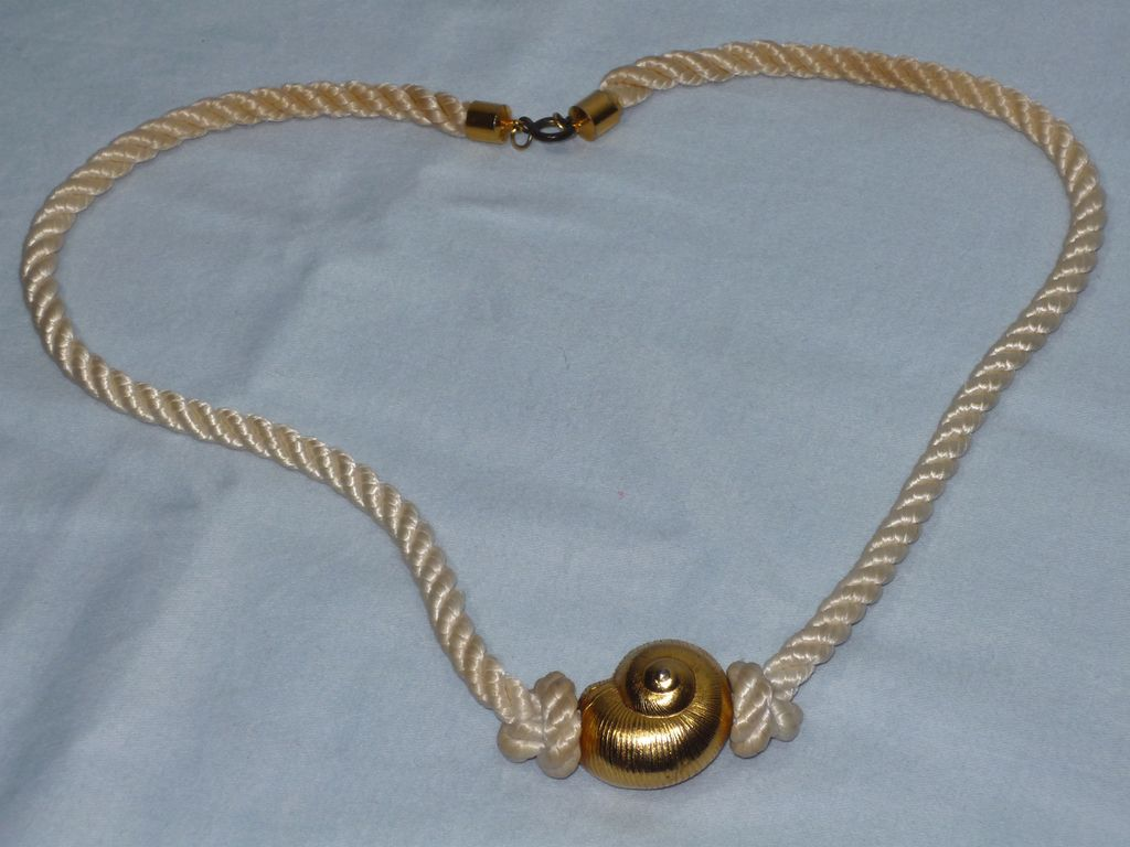 Vintage 1970s Yves Saint Laurent Gold Tone Shell Pendant On Cord
