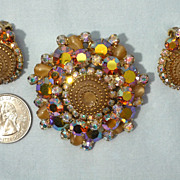 Vintage 1960s D & E Juliana Birthday Cake Brooch and Earrings Demi Parure