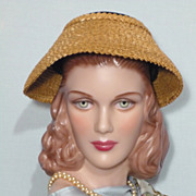 Vintaage 1950s  Valerie Modes Straw and Black Velvet New Look Hat