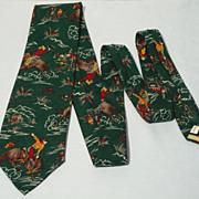 Vintage 1980s Cowboy Print Wool  Tie