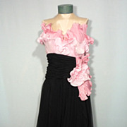 Vintage 1980s Pink Cabbage Rose Black Chiffon Grecian Style Evening Gown