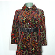 Vintage 1960s  Aquanala Paisley Print Velvet Coat Sold at Saks Fifth Avenue