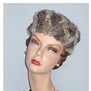 Vintage 1960s Saks Fifth Avenue Chinchilla Fur Pillbox Hat