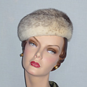 Vintage 1960s  Lord & Taylor Salon Cross Mink Pillbox Hat