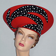 Vintage 1980s Jack McConnell Boutique Red Halo Church Hat