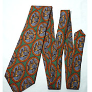 Vintage 1980s  Saks Fifth Avenue Wild Duck Print Silk Tie