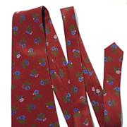 Vintage Nina Ricci Burgundy Floral Silk Tie
