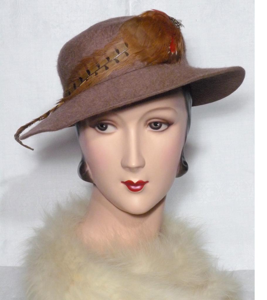 vintage 1950s new era hats taupe fur felt and pheasant