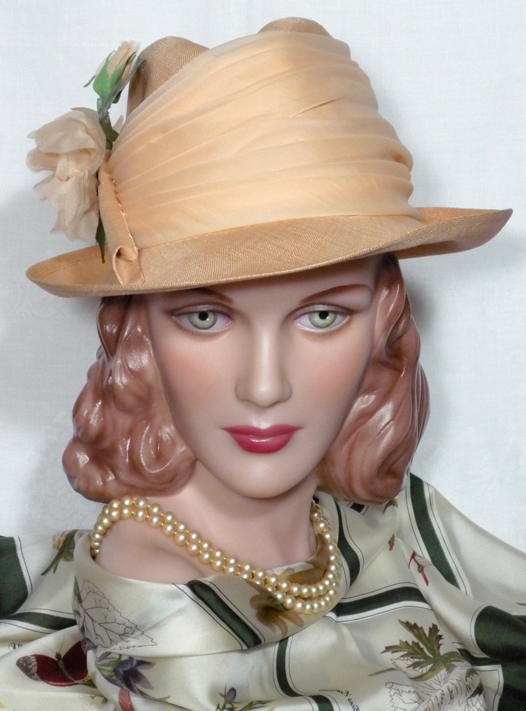 Vintage 1980s Adolfo II Peach Straw Fedora With Rose Detail