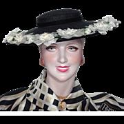 Vintage 1950s Black Straw Cartwheel Hat With White Roses