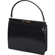 Vintage 1950s-60s Nettie Rosenstein Black Leather Handbag Made in Florence Italy