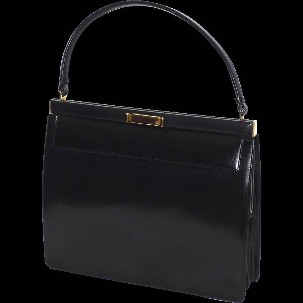 Vintage 1950s-60s Nettie Rosenstein Black Leather Handbag Made in ...