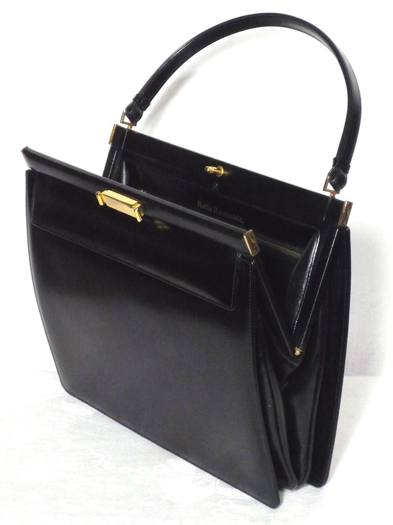 Vintage 1950s-60s Nettie Rosenstein Black Leather Handbag