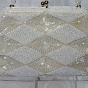 Vintage 1960s White Pearlized and Iridescent Glass Beaded Evening Bag With Diamond Pattern