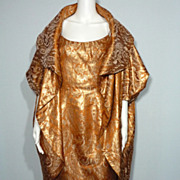1950s Mr. Blackwell Copper and Gold Brocade Dress and Coat Cocktail Ensemble