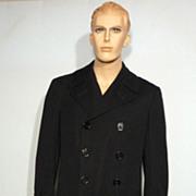 Vintage 1942 World War II Black Wool Naval Officers Coat Originally Sold by Burt Baskin Chicago