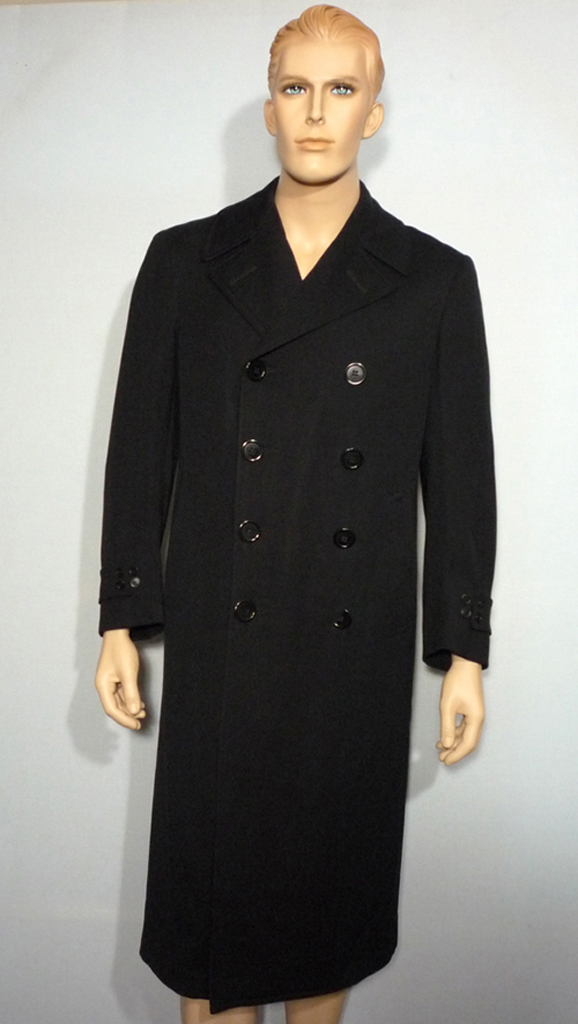 Vintage 1942 World War II Black Wool Naval Officers Coat Originally Sold by Burt Baskin Chicago