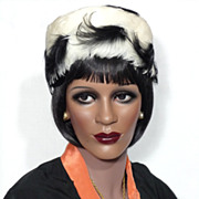Vintage Late 1950s  Early 1960s Solange de Fabry Black and White Feather Hat Made in Paris