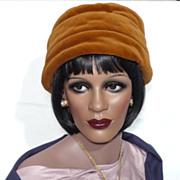 Vintage 1960s Mr John Caramel Velvet Turban Style Hat