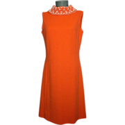 Vintage 1960s Miss Boutique Tangerine Orange Wool Dress With Beaded Collar