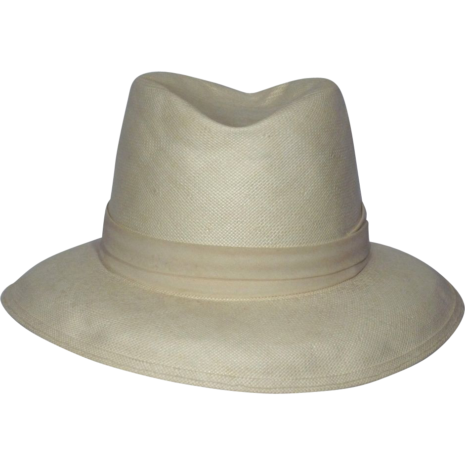 Vintage 1980s Dobbs Fifth Avenue Shantung Panama Hat