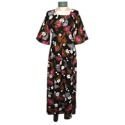 Vintage 1960s Ui Maikai Floral Maxi Dress Made in Hawaii