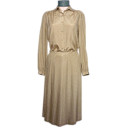 Vintage 1970s Pierre Balmain 2pc Tan Silk Dress