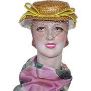 Vintage 1940s-50s John Frederics Straw Hat Originally Sold By Miller & Rhoads