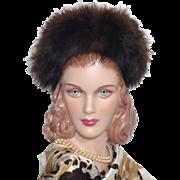 Vintage 1940s Fox Fur Trimmed Black Wool Felt Hat