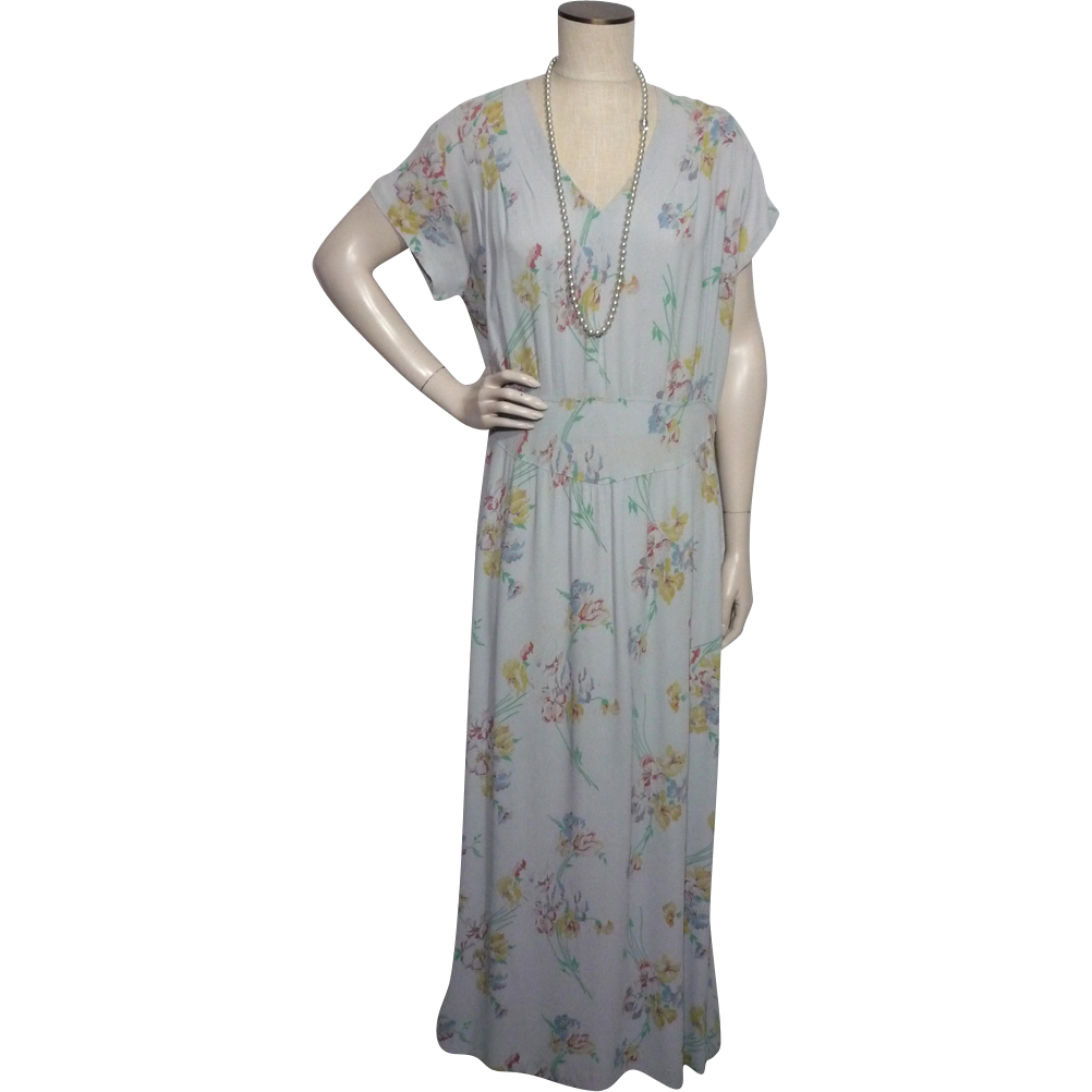 Vintage 1930s Blue Floral Rayon Crepe Afternoon Tea Dress