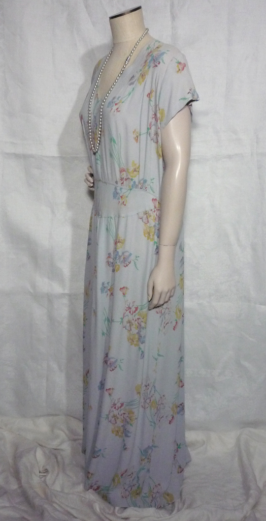 Vintage 1930s Blue Floral Rayon Crepe Afternoon Tea Dress