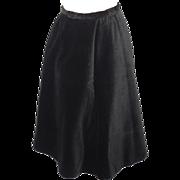 Vintage 1950s Koret of California Black Corduroy Circle Skirt