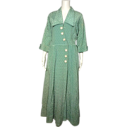 Vintage 1950s B  Cohen Original Aqua Quilted Satin Robe