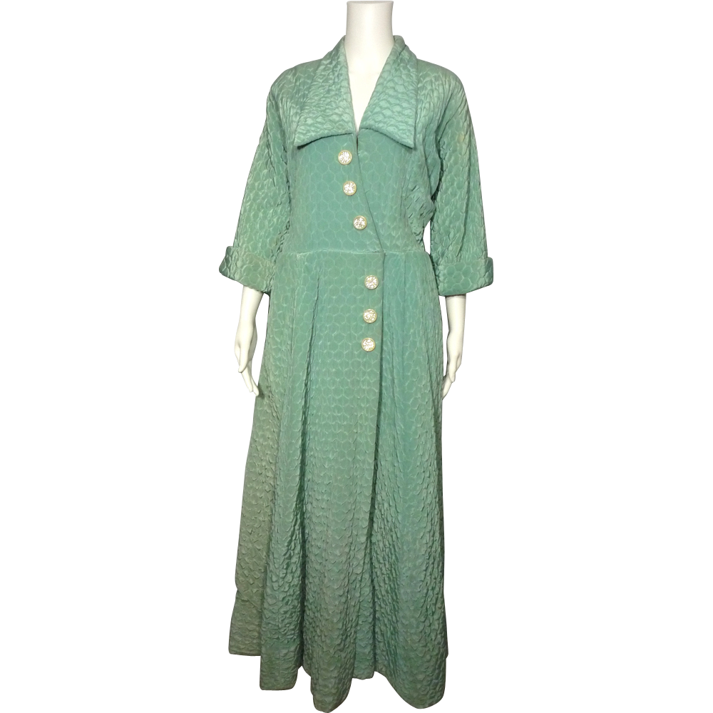 Vintage 1950s Aqua Quilted Satin Robe B Cohen Original from ... : quilted satin robe - Adamdwight.com