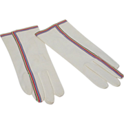 Vintage 1960s Hansen White Suede Supreme Cotton Gloves With Colorful Ribbon Trim