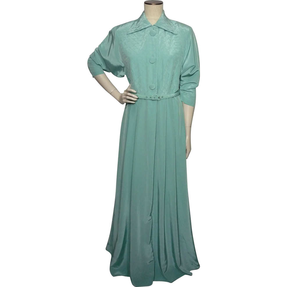 Dressing Gowns And Robes: Vintage 1950s Kamore Aqua Robe Dressing Gown From