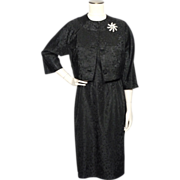 Vintage 1950s Black Taffeta Dress and Matching Bolero Jacket