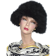 Vintage 1960s Frank Olive  Black Marabou Feather Hat For Neiman Marcus