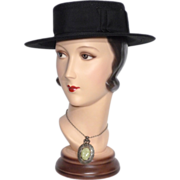 Vintage 1950s Chanda Whimsies Black Woven Straw Boater Style Hat