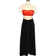 Vintage 1960s Beverly Paige Velvet Palazzo Pants Evening Skirt