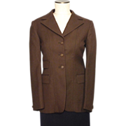 Vintage 1960s-70s Riding Jacket Brown Wool Made By Pytchley England