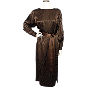 Vintage 1980s Hanae Mori Boutique Brown Silk Dress