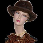 Vintage 1960s Miss Dior Created by Christian Dior Brown Fur Felt Hat